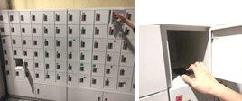 検査エリアとなる作業場の出入り口には貴重品ロッカーを常備しており、許可された物以外は持ち込めません。